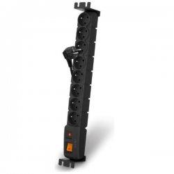 Power supply panel ACAR S8 FA RACK, overvoltage protection, 8 sockets, rack 19, black, 3m